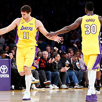 09 January 2018: Los Angeles Lakers center Brook Lopez (11) celebrates with Los Angeles Lakers forward Julius Randle (30) during the LA Lakers 99-86 victory over the Sacramento Kings, at the Staples Center, Los Angeles, California, USA.