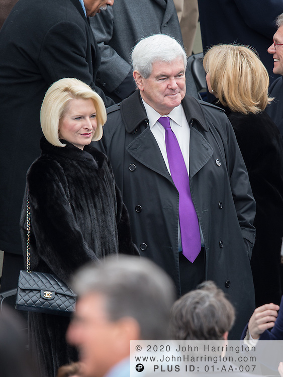 Former Speaker of the House Newt Gingrich and Calista Gingrich with Chanel bag at the 57th Presidential Inauguration of President Barack Obama at the U.S. Capitol Building in Washington, DC January 21, 2013.