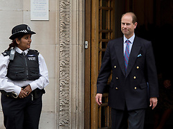 10/06/2013. London, UK. Prince Edward, Earl of Wessex leaving The Clinic on Harley Street, London after visiting Prince Philip, Duke of Edinburgh on his 92nd birthday. Prince Philip is currently recovering at the hospital after undergoing a planned operation to cure abdominal pains. Photo credit: Ben Cawthra