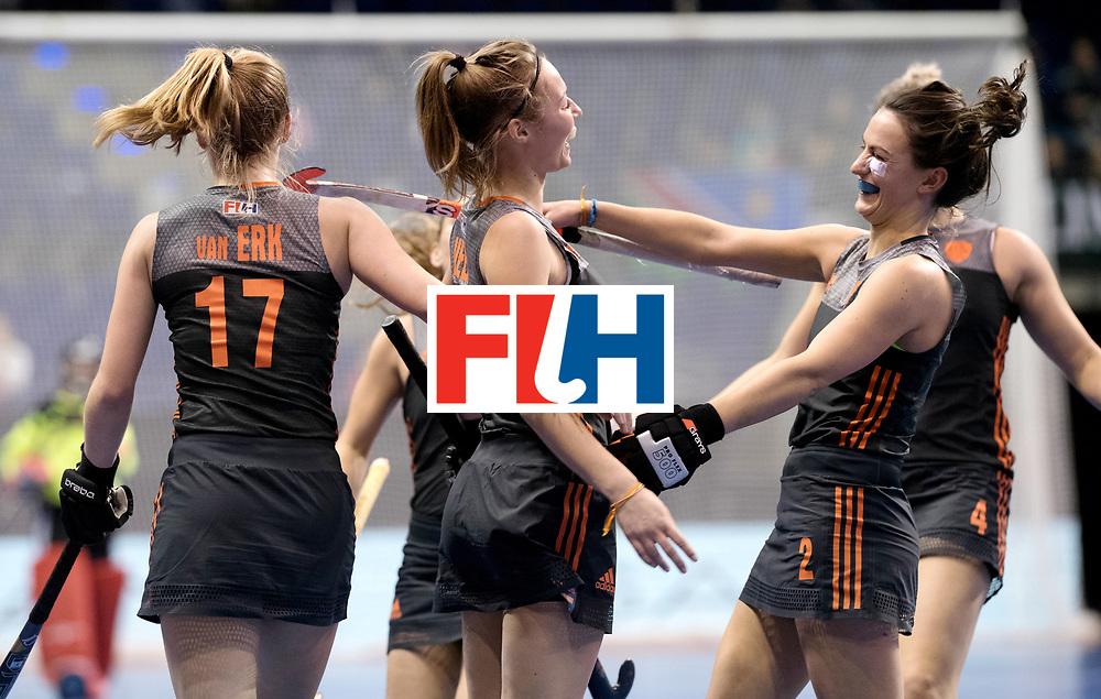 BERLIN - Indoor Hockey World Cup<br /> Women: Netherlands - United States<br /> foto: Marijn Veen scored and celebrates with Kiki van Wijk.<br /> WORLDSPORTPICS COPYRIGHT FRANK UIJLENBROEK