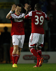Fulham's John Arne Riise celebrates the winning penalty - Photo mandatory by-line: Matt Bunn/JMP - Tel: Mobile: 07966 386802 27/08/2013 - SPORT - FOOTBALL - Pirelli Stadium - Burton - Burton Albion V Fulham -  Capital One Cup - Round 2