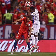 Panama Defender LUIS HENRIQUEZ (17) dives for the ball as Chile Midfielder FELIPE GUTIÉRREZ (6) defends in the second half of a Copa America Centenario Group D match between the Chile and Panama Tuesday, June. 14, 2016 at Lincoln Financial Field in Philadelphia, PA.