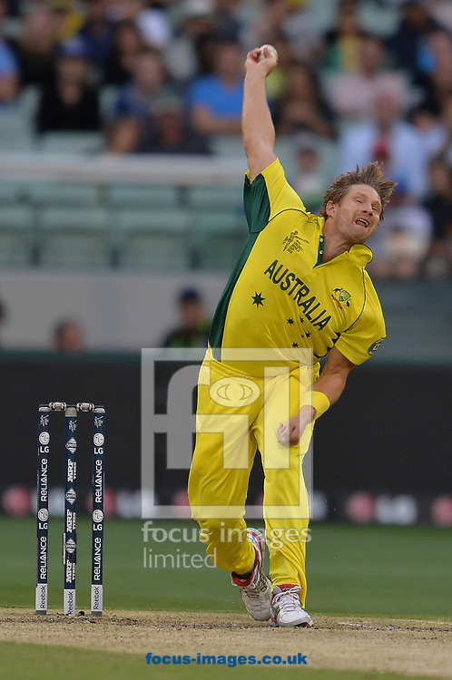 Shane Watson of Australia bowls during the 2015 ICC Cricket World Cup match at Melbourne Cricket Ground, Melbourne<br /> Picture by Frank Khamees/Focus Images Ltd +61 431 119 134<br /> 14/02/2015