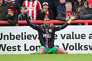 Bristol City striker, Jonathan Kodjia (22) appealing for a penalty during the Sky Bet Championship match between Brentford and Bristol City at Griffin Park, London, England on 16 April 2016. Photo by Matthew Redman.