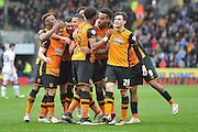 hull city celebrate Hull City midfielder Tom Huddlestone (8) scoring to go 2-1 up  during the Sky Bet Championship match between Hull City and Leeds United at the KC Stadium, Kingston upon Hull, England on 23 April 2016. Photo by Ian Lyall.