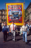 Riccall Branch NUM banner on the Yorkshire miners 100th gala, Barnsley. 20-06-1987.