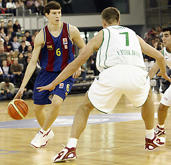 Vlado Ilievski of Barcelona vs Vladimer Boisa of Olimpija during Euroleague basketball match between KK Union Olimpija and Barcelona, on November 11, 2004, in Hala Tivoli, Ljubljana, Slovenia. (Photo By Vid Ponikvar / Sportida.com)