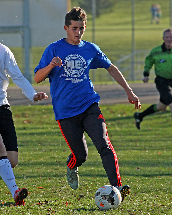 The blue teams Raymond Amborski from Westfield during soccer action at Strider Field 11-15-15 photo by Mark L. Anderson