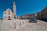 Trani è un comune italiano di 55.842 abitanti capoluogo insieme a Barletta ed Andria, della provincia di BAT (Barletta-Andria-Trani), in Puglia..È nota città d'arte per le bellezze artistiche ed architettoniche. La città è situata sulla costa adriatica 43 km a nord di Bari, ad un'altitudine di 7 metri sul livello del mare. .Riguardo alle sue origini, alcuni ritrovamenti archeologici (tracce di insediamenti abitativi dell'Età del Bronzo a Capo Colonna) attestano le sue origini preistoriche, ma le tracce più concrete arrivano non prima della conquista dei Romani. Dopo la caduta dell'Impero Romano iniziò in Puglia il periodo bizantino, caratterizzato da una pausa di dominazione longobarda e dalle minacce continue provenienti dal mare ad opera dei Saraceni. Fu comunque il Medioevo il periodo d'oro della città. Nel 1042 Trani venne scelta come sede di una delle dodici baronie in cui venne divisa la Contea di Puglia: assegnata al conte Pietro, venne espugnata solo diversi anni dopo. In questo periodo la città godette di un certo grado di autonomia, dovuto al controllo ormai formale da parte dei governatori bizantini e alle lotte di potere tra i diversi rami della famiglia Altavilla. Trani cadde definitivamente sotto il dominio normanno nel 1073, dopo 50 giorni di assedio, per mano di Roberto il Guiscard. Fu in questo periodo, corrispondente alla prima crociata, precisamente nel 1099, che nella città si iniziarono i lavori per la costruzione della cattedrale in onore del santo patrono San Nicola pellegrino, un giovane greco in viaggio verso Roma che morì a Trani, dopo diversi giorni di malattia ed alcuni miracoli, e canonizzato subito dopo a furor di popolo. Già allora aveva grande importanza il porto, che sarà in seguito punto di partenza e di ritorno di diverse crociate..La Cattedrale di Trani (conosciuta anche come Cattedrale di San Nicola Pellegrino) è la costruzione più prestigiosa della città pugliese. Si tratta di un esempio di architettura romanica pugliese. La sua