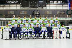 Team Slovenia (front row: Robert Kristan, Ales Burnik, Gaber Glavic, Marcel Rodman, Tomaz Razingar, Matjaz Kopitar, Anze Kopitar, Nik Zupancic, Luka Gracnar, Gasper Kroselj, middle row: Andrej Tavzelj, Miha Verlic, Blaz Gregorc, Sabahudin Kovacevic, Jan Urbas, Ziga Pavlin, Ziga Pance, Miha Stebih, Ziga Jeglic, Luka Vidmar and third row: Klemen Pretnar, Jan Mursak, Ales Kranjc, Bostjan Golicic, Rok Ticar, Robert Sabolic, Mitja Robar, Ales Music and Ken Ograjensek) at official photoshooting of Team Slovenia, on April 27, 2015 at Hala Tivoli, Ljubljana. Photo by Matic Klansek Velej / Sportida.