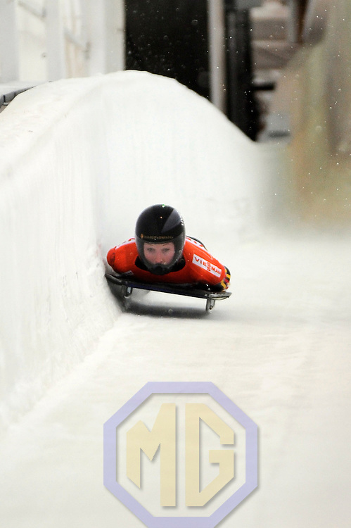 14 December 2007:  Anja Huber of Germany competes at the FIBT World Cup Women's skeleton competition on December 14, 2007 at the Olympic Sports Complex in Lake Placid, NY.  The race was won by Katie Uhlander of the United States.