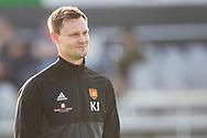 Cheftræner Kasper Jørgensen (Hillerød) under opvarmningen til kampen i 2. Division mellem Hillerød Fodbold og FC Helsingør den 21. august 2019 på Hillerød Stadion (Foto: Claus Birch).