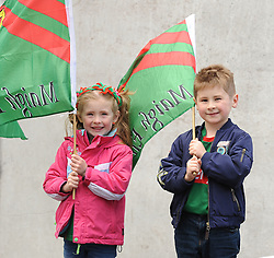 Keepin the flag flying for Mayo at McHale park were cousins Isabell and Daniel Connelly from Ballindine<br />Pic Conor McKeown