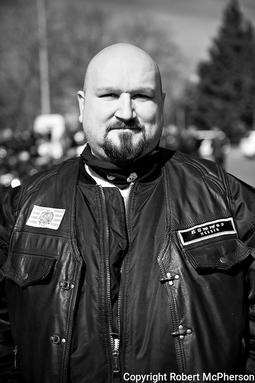 On image Desztics Jeno. Member of the right-wing extremist group G&ograve;j Motorosok in Hungary.<br />