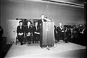 12/11/1967<br /> 11/12/1967<br /> 12 November 1967<br /> Offical opening of ROSC art exhibition at the R.D.S., Dublin.<br /> Mr Charles Haughey, T.D., Minister for Finance, declaring open the ROSC Exhibition at the R.D.S. with R-L:   Mr John D.J. Moore, Vice President W.R. Grace and Co. New York, one of the sponsors of the exhibition; Mr James Johnson Sweeny, Director of the Fine Arts Museum, Houston, a juror; Mr Kevin O'Doherty, who presided and Dr. Willem Sandberg, Chairman of the Israel Museum, Jerusalem, one of the jurors of the exhibition.