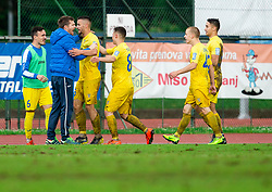 Simon Rozman, head coach of Domzale, Dario Kolobarić of Domzale celebrate after scoring a goal during football match between NK Triglav Kranj and NK Domzale in 35th Round of Prva liga Telekom Slovenije 2018/19, on May 22nd, 2019, in Sports park Kranj, Slovenia. Photo by Vid Ponikvar / Sportida