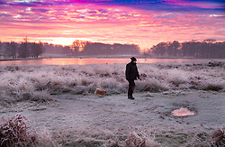 © Licensed to London News Pictures. 24/01/2019. London, UK. A man walks his dog in a frozen Richmond Park, West London on a cold winter morning, as temperatures across the UK drop dramatically. Some parts of the UK are expecting snowfall following a spell of low temperatures. Photo credit: Peter Macdiarmid/LNP