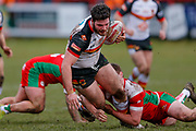 Bradford Bulls prop Calum Bustin (15) is stopped during the Betfred League 1 match between Keighley Cougars and Bradford Bulls at Cougar Park, Keighley, United Kingdom on 11 March 2018. Picture by Simon Davies.