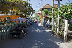 The main street of the town of Utila.