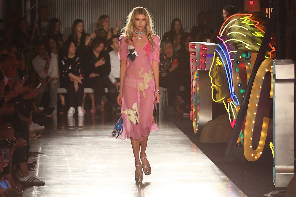 Stella Maxwell walks down the runway at the Moschino fashion show at MADE Fashion Festival on Thursday, June 8, 2017, in Los Angeles. (Photo by Willy Sanjuan/Invision/AP)