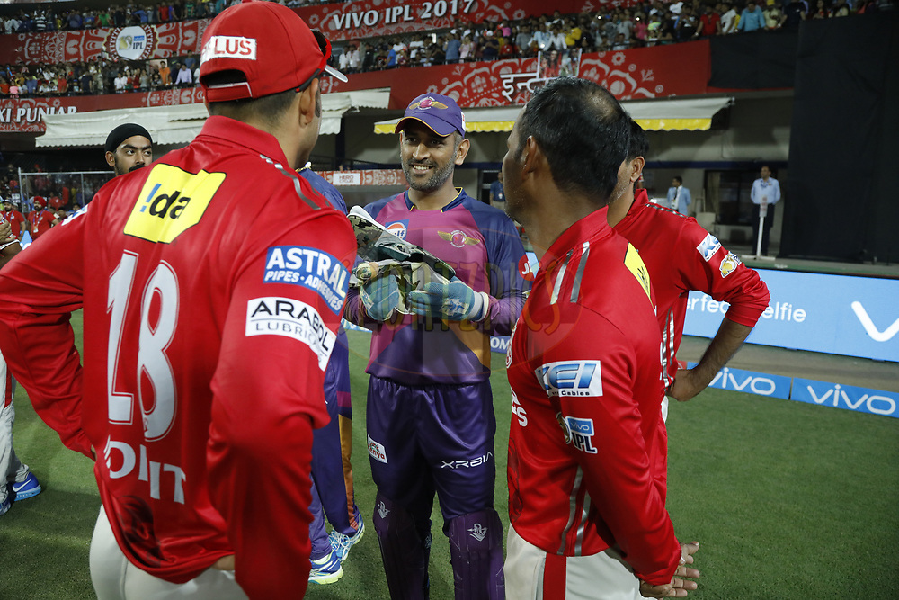 Rising Pune Supergiant captain MS Dhoni  chat with players during match 4 of the Vivo 2017 Indian Premier League between the Kings X1 Punjab and the rising Pune Supergiant held at the Holkar Cricket Stadium in Indore, India on the 8th April 2017<br /> <br /> Photo by Arjun Singh - IPL - Sportzpics