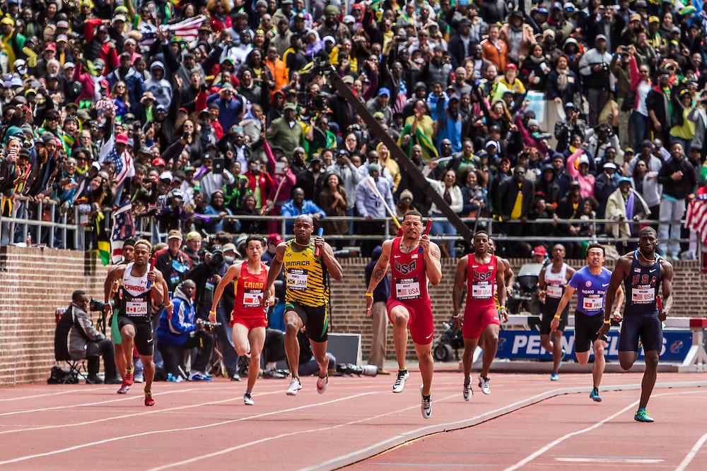 Penn Relays, USA vs the World, 4x 100 meters, anchor leg, Asafa Powell, Ryan Bailey