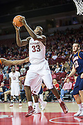 FAYETTEVILLE, AR - DECEMBER 19:  Moses Kingsley #33 of the Arkansas Razorbacks gets a rebound against the UT Martin Skyhawks at Bud Walton Arena on December 19, 2013 in Fayetteville, Arkansas.  The Razorbacks defeated the Skyhawks 102-56.  (Photo by Wesley Hitt/Getty Images) *** Local Caption *** Moses Kingsley