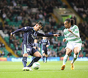 Dundee's Luka Tankulic fires in a shot as Celtic's Jason Denayer tries to stop him -  Celtic v Dundee - SPFL Premiership at Celtic Park<br /> <br /> <br />  - © David Young - www.davidyoungphoto.co.uk - email: davidyoungphoto@gmail.com