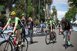 Cylance Pro Cycling riders ride to the start of the fourth, 70 km road race stage of the Amgen Tour of California - a stage race in California, United States on May 22, 2016 in Sacramento, CA.