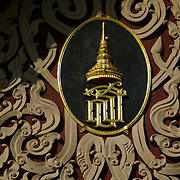 Wat Neramit Wiphatsana in Loei,.Detail from temple frontage.