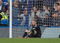 Football - 2016/2017 Premier League - Chelsea V Leicester.<br /> <br /> A dejected Kasper Schmeichel of Leicester City after he concedes the first goal against Chelsea at Stamford Bridge.<br /> <br /> COLORSPORT/DANIEL BEARHAM