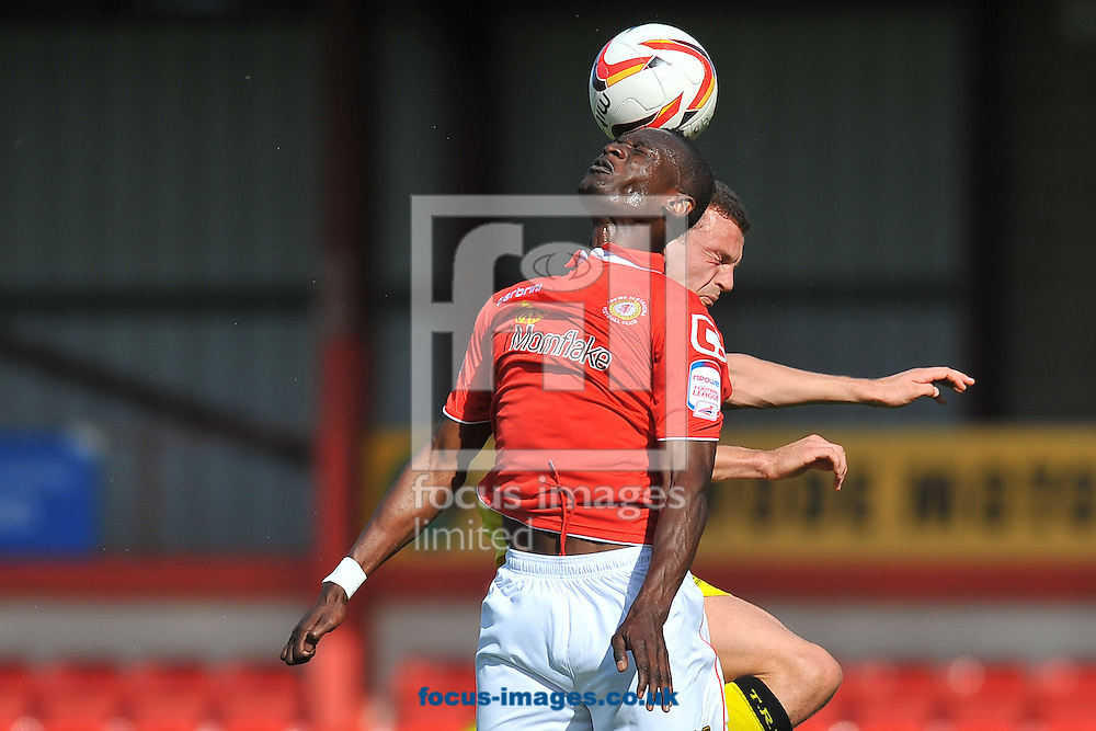 Picture by Ste Jones/Focus Images Ltd +44 7706 592282.08/09/2012.Abdul Osman of Crewe Alexandra and James Wallace of Tranmere Rovers during the npower League 1 match at Alexandra Stadium, Crewe.