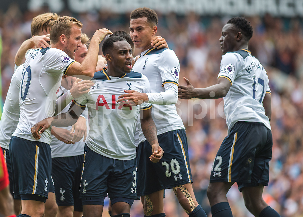 Danny Rose of Tottenham Hotspur celebrates scoring the equalising goal during the Premier League match between Tottenham Hotspur and Liverpool at White Hart Lane, London, England on 27 August 2016. Photo by Vince  Mignott.