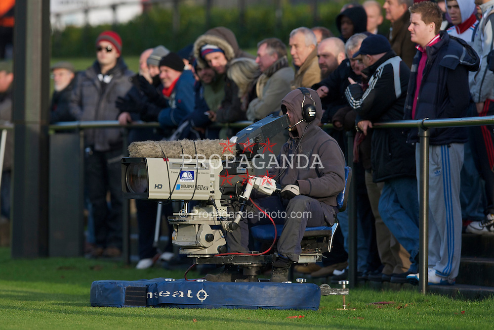 KIRKBY, ENGLAND - Tuesday, November 16, 2010: A television camera during the FA Premiership Reserves League (Northern Division) match at the Kirkby Academy. (Pic by: David Rawcliffe/Propaganda)