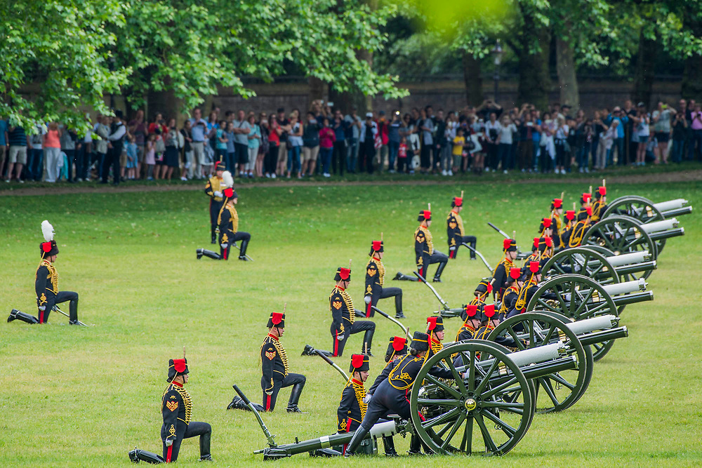 Firing the salute - The King's Troop Royal Horse Artillery fire celebratory a Royal Salute at 1pm on Saturday 2nd June to mark the Coronation Day.