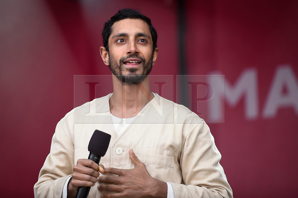 © Licensed to London News Pictures. 08/06/2019. LONDON, UK. Special guest Riz Ahmed, Londoner and Hollywood actor, on stage during the EID Festival in Trafalgar Square, an event hosted by The Mayor of London.  The Mayor's festival takes place in the square one week after the end of Ramadan and includes a variety of stage performances and cultural activities.  Photo credit: Stephen Chung/LNP