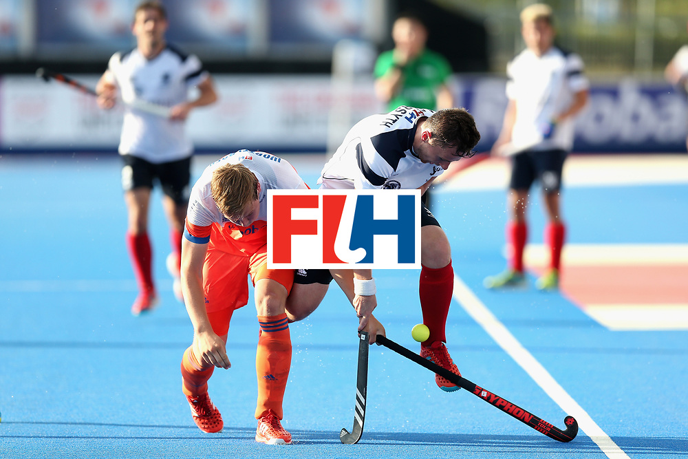 LONDON, ENGLAND - JUNE 17: Alan Forsyth of Scotland battles with Floris Wortelboer of the Netherlands during the Hero Hockey World League Semi Final match between Scotland and Netherlands at Lee Valley Hockey and Tennis Centre on June 17, 2017 in London, England.  (Photo by Alex Morton/Getty Images)