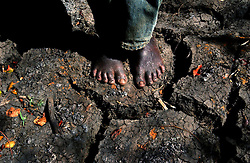 A Malawian fisherman stands on the parched earth near where he was trying to  catch fish in the village of Mtema Nyema in the Phalombe District which is east of Blantyre, Malawi, July 3, 2002.   After the droughts and flooding in the last year, there is a massive ongoing food shortage in the region and many farmers have been forced to fish the small ponds in search of food. The World Food Program estimates that 3.2 million people in Malawi alone will be affected before March 2003.