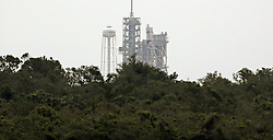 June 1, 2017 - Kennedy Space Center, FL, USA - A SpaceX Falcon 9 rocket carrying supplies and experiments remains grounded due to weather violations on Thursday, June 1, 2017, at  launch pad 39A at the Kennedy Space Center. (Credit Image: © Red Huber/TNS via ZUMA Wire)