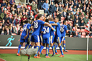 Leicester Citys Jamie Vardy makes it 2-2 during the Barclays Premier League match between Southampton and Leicester City at the St Mary's Stadium, Southampton, England on 17 October 2015. Photo by Adam Rivers.