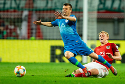 Damjan Bohar of Slovenia vs Xaver Schlager of Austria during the 2020 UEFA European Championships group G qualifying match between Austria and Slovenia at Wörthersee Stadion on June 7, 2019 in Klagenfurt, Austria. Photo by Vid Ponikvar / Sportida