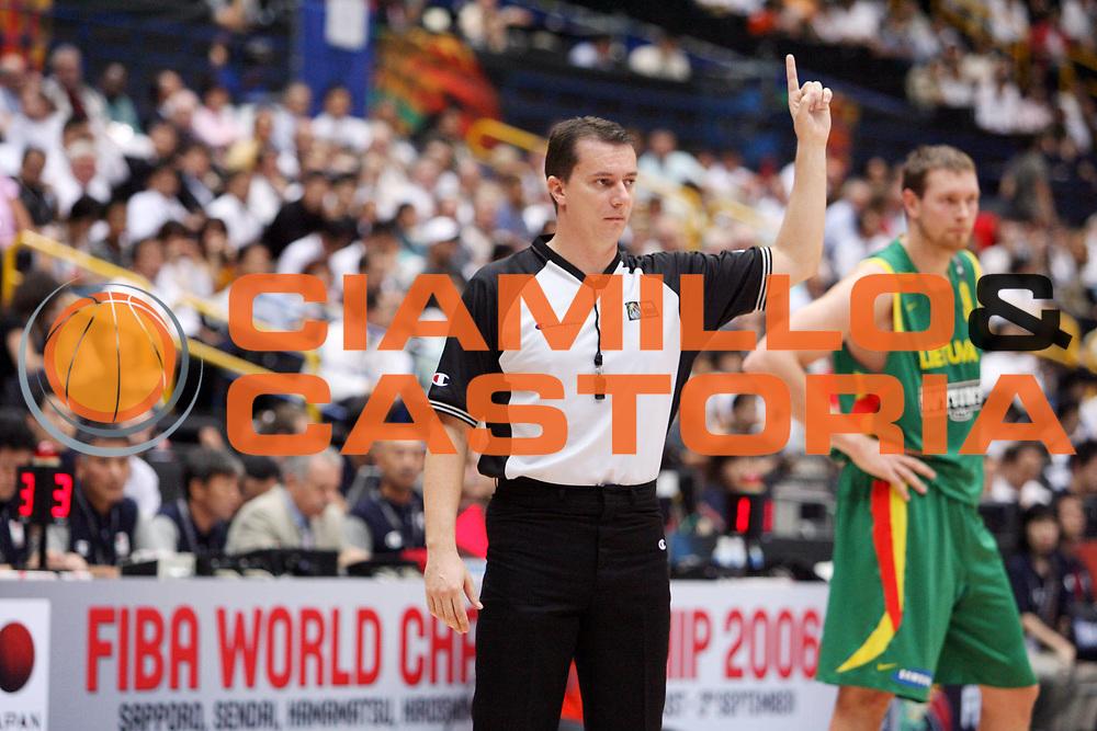 DESCRIZIONE : Saitama Giappone Japan Men World Championship 2006 Campionati Mondiali Spain-Lithuania <br /> GIOCATORE : Arbitro Referee <br /> SQUADRA : <br /> EVENTO : Saitama Giappone Japan Men World Championship 2006 Campionato Mondiale Spain-Lithuania <br /> GARA : Spain Lithuania Spagna Lituania <br /> DATA : 29/08/2006 <br /> CATEGORIA : Ritratto <br /> SPORT : Pallacanestro <br /> AUTORE : Agenzia Ciamillo-Castoria/E.Castoria <br /> Galleria : Japan World Championship 2006<br /> Fotonotizia : Saitama Giappone Japan Men World Championship 2006 Campionati Mondiali Spain-Lithuania <br /> Predefinita :