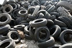 Pile of used tyres awaiting disposal, Dorset, UK April 2020