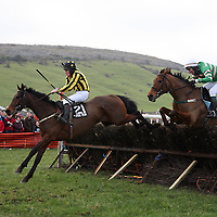 JE Byrnes on Howistheform and JT McNamara on Money Point at the annual point to point meeting at Belhabour on Sunday.<br />