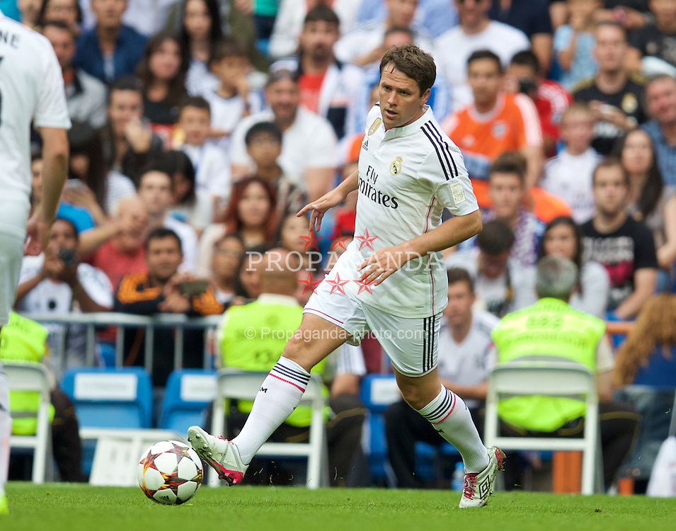 MADRIS, SPAIN - Sunday, June 14, 2015: Real Madrid's Michael Owen in action against Liverpool during the Corazon Classic Legends Friendly match at the Estadio Santiago Bernabeu. (Pic by David Rawcliffe/Propaganda)