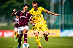 Aliaga Victor of NK Triglav and Klemencic Tilen of NK Domzale during football match between NK Triglav and NK Domzale in 9th Round of Prva liga Telekom Slovenije 2019/20, on September 15, 2019 in Sport park Kranj, Kranj, Slovenia. Photo by Grega Valancic / Sportida
