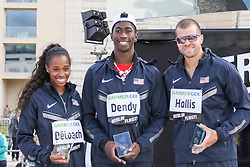 "05.09.2015, Brandenburger Tor, Berlin, GER, Leichtathletik Meeting, Berlin fliegt, im Bild Janay DeLoach (USA), Marquis Dendy (USA) und Mark Hollis (USA) (v.l.)- Berlin fliegt! am 05.09.2015 am Brandenburger Tor, Berlin. // during the Athletics Meeting ""Berlin flies"" at the Brandenburger Tor in Berlin, Germany on 2015/09/05. EXPA Pictures © 2015, PhotoCredit: EXPA/ Eibner-Pressefoto/ Eibner-Pressefoto<br /> <br /> *****ATTENTION - OUT of GER*****"