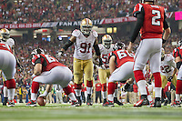 20 January 2013: Defensive tackle (91) Ray McDonald of the San Francisco 49ers lines up against the Atlanta Falcons during the second half of the 49ers 28-24 victory over the Falcons in the NFC Championship Game at the Georgia Dome in Atlanta, GA.