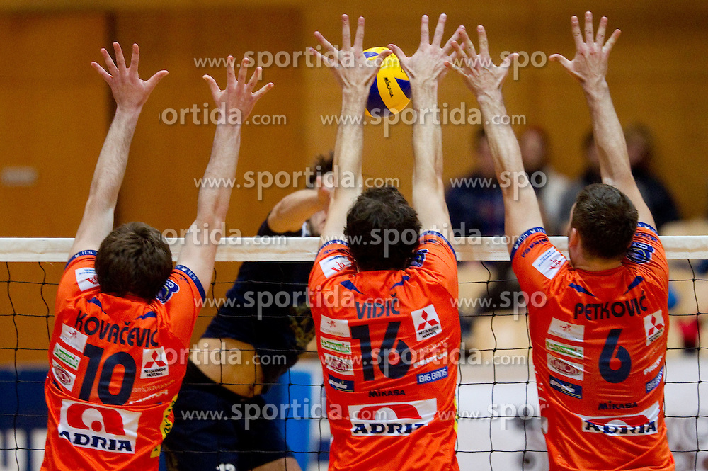 Uros Kovacevic, Matej Vidic and Vlado Petkovic of ACH during volleyball match between ACH Volley and UKO Kropa at Finals of Slovenian Cup 2010, on December 21, 2010 in Dvorana OS, Nova Gorica, Slovenia. ACH Volley defeated Kropa 3-0 and become Slovenian Cup Champion. (Photo By Vid Ponikvar / Sportida.com)