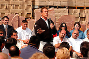"Santa Clarita, CA, USA, Oct. 10th 2003: Arnold Schwarzenegger continued his ""California Comeback Express"" campaign tour troughout California in his attemt to perusade the californians to vote for recall of Gray Davis and elect the actor as the new Governor of California.<br /> <br /> At the Pueblo Building Materials Factory, Mr. Schwarzenegger answered questions from citizens of Santa Clarita.<br /> <br />  *** Local Caption *** , posted on Corbis web ,"